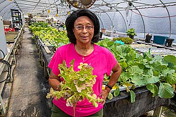 Voulynne Small created a hydroponic garden with technical support from Cooperative Extension at N.C. A&T.